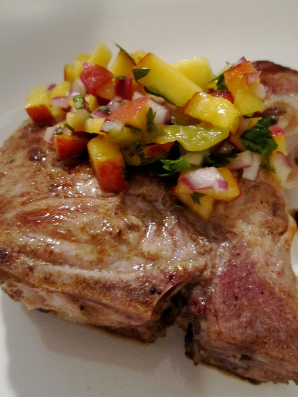 Cumin Rubbed Pork Chops with Peach & Hatch Chile Salsa | Two Hot ...